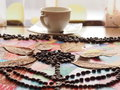 Children craft with coffee beans in shape of flower Royalty Free Stock Photography