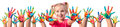 Children In Creativity - Hands Painted Royalty Free Stock Photo