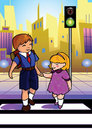 Children crossing street Stock Image