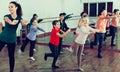 Children dancing contemp in studio smiling and having fun Royalty Free Stock Photo