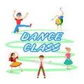 Children dancing round icons set vector illustration