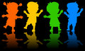 Children Dancing Silhouettes Royalty Free Stock Photo