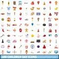 100 children day icons set, cartoon style
