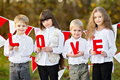 Children with decor style valentine s day Stock Photos