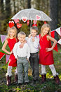 Children with decor style valentine s day Stock Images
