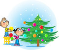 Children decorate the christmas tree illustration shows a girl and a boy decorating toys illustration done in cartoon style on Stock Image