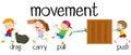 Children in different movement