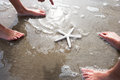 Children Discovering Starfish On Beach Royalty Free Stock Photo