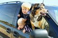 Children and Dog in Minivan Royalty Free Stock Photo