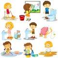 Children doing different chores