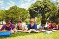 Children doing homework at park Royalty Free Stock Photo