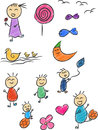 Children doodle a vector set of doodles in childish style drawn in sketch style this vector is very good for design that need Royalty Free Stock Images