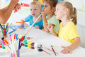 Children draw in the classroom Royalty Free Stock Photo