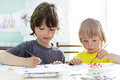 Children draw in home happy Royalty Free Stock Photography
