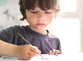 Children draw in home Royalty Free Stock Photo