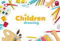 Children drawing color background banner white design Stock Images