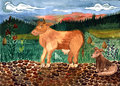 Children drawing of a cow and dog on a walk gouache Stock Photo