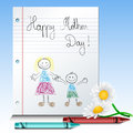 Children drawing for mothers day with blue and red crayons and white flowers Royalty Free Stock Image