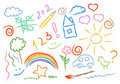 Children drawing multicolored symbols set Royalty Free Stock Image