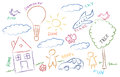 Children drawing multicolored symbols set Royalty Free Stock Photo