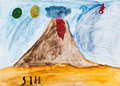Children drawing people near active volcano in extraterrestrial world Stock Image