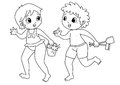 Children drawing to color black and white drawings of a boy and a girl in beachwear Royalty Free Stock Photography