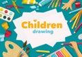 Children drawing white list background banner design Stock Photo