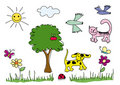 Children drawings elements Royalty Free Stock Images