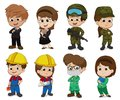 Children dress up as a profession such as business,Soldier,Engineer,Doctor. Royalty Free Stock Photo