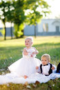 Children dressed as bride and groom Royalty Free Stock Photos