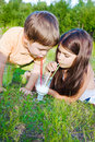 Children drink milk summer Stock Photo