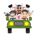 Children driving a car with cow, goat, sheep and pig cartoon vector illustration Royalty Free Stock Photo