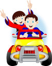 Children driving a car young man and woman having fun on the road Stock Images