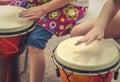 Children Drumming Detail Royalty Free Stock Photo