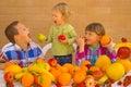 Children eating fruits