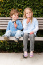 Children eating ice-cream Stock Image