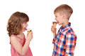 Children eating ice cream happy Royalty Free Stock Photography