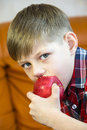 Children eating juicy red apple Royalty Free Stock Image