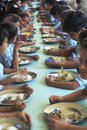 Children eating in refectory, Brazil. Royalty Free Stock Photo