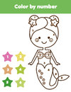 Children educational game. Coloring page with mermaid. Color by numbers, printable activity