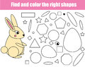 Children educational game. Find the rigth pieces and complete the picture. Puzzle kids activity. animals theme. learning shapes