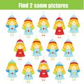 Children educational game. Find two same pictures. Find identic Angels. Christmas theme activity for kids and toddlers