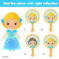 Children educational game. Matching pairs. Find the correct reflection