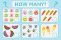 Children educational logic game. Mathematical task. How many. Vector illustration.