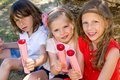 Children enjoying ice pops portrait of youngsters outdoors Royalty Free Stock Images