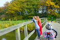 Children enjoying nature on bicycle Royalty Free Stock Photo