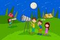 Children enjoying summer camp star gazing activities