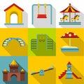 Children entertainment icons set, flat style Royalty Free Stock Photo