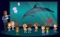 Children on an excursion to the aquarium Royalty Free Stock Photo