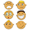 Children faces set. people emotions Royalty Free Stock Photo